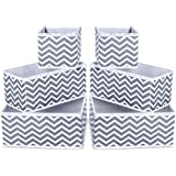 House of Quirk Foldable Cloth Storage BoxCloset Dresser Drawer Organizer Cube Basket Bins Containers Divider with Drawers for Underwear, Bras, Socks, Ties, Scarves, Set of 6 (Wave)