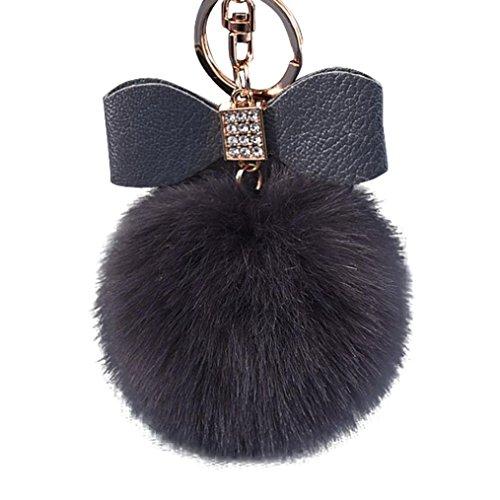 Sammlung Mode Hobo (MRULIC 1pc Diamant Kaninchen Pelz Ball Fox Bowknot Schlüsselanhänger Tasche Plüsch Auto Schlüsselring Anhänger 10cm (Dunkelgrau))