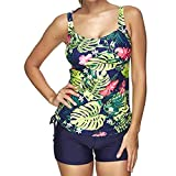 IZHH Damen Mode Tankini, Frauen Bikini Set Bademode Push-Up Gepolsterter Print Badeanzug Beachwear Printed Split Drawstring Badeanzug Set(Blau,L)