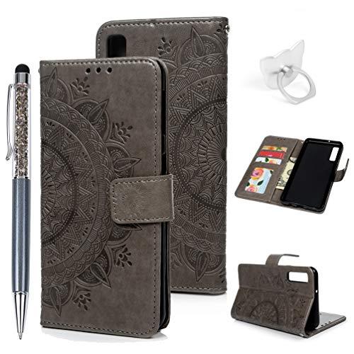 Preisvergleich Produktbild A7 / A750 2018 Handyhülle Flip Case für Samsung Galaxy, Idlehour PU Leder Case Cover Magnet Schutzhülle Tasche Skin Ständer Handytasche, Grau Totem