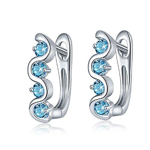 YAZILIND elegantes Zubehör platiniert glänzend runde Zirkon hypoallergen Creolen für Frauen Geschenk (hellblau) (Platin Creolen Für Frauen)