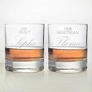 2 Whiskygläser im Set – Gravur zur Hochzeit – Motiv Braut und Bräutigam – Personalisiert mit Namen und Datum – Tumbler Whiskyglas als Hochzeitsgeschenk