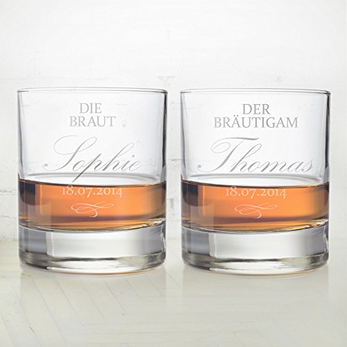 2 Whiskygläser im Set - Gravur zur Hochzeit - Motiv Braut und Bräutigam - Personalisiert mit Namen und Datum - Tumbler Whiskyglas als Hochzeitsgeschenk
