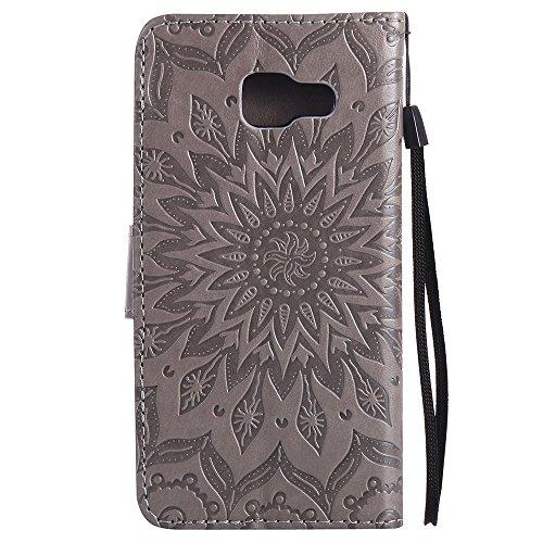 Für Samsung Galaxy A3 2016 Fall, Prägen Sonnenblume Magnetische Muster Premium Soft PU Leder Brieftasche Stand Case Cover mit Lanyard & Halter & Card Slots ( Color : Rose Gold ) Gray