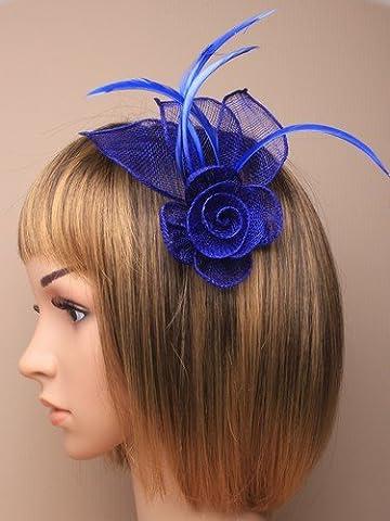 Allsorts Royal Blue Flower Beak Clip Feather Hat Fascinator Ladies Day Royal Ascot Weddings by Allsorts