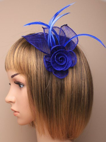 Stunning Royal Blue Fascinator in neat hessian and feather with clip and  brooch pin for special e5e984289ea