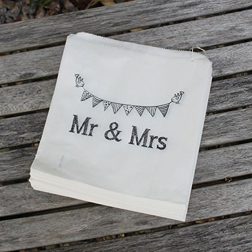 Weiße Papiertüten 'Mr And Mrs' Tüte x 90 - Hochzeitsgeschenke / Sweet Candy Bar / Geschenke