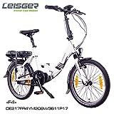 Leisger ® F4 20' Zoll Elektrofahrrad, E-Faltrad,Klappard, E-Bike, Pedelec, 36V 250W Li-Ion Akku mit 11Ah PANASONIC Zellen, Bafang MAX Display & Mittelmotor in glänzend weiß