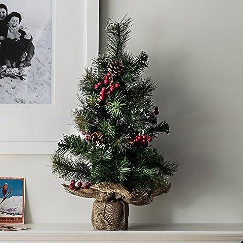 Künstlicher Mini Tannenbaum 60cm Beeren und Tannenzapfen Lights4fun