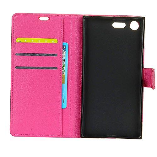 Solid Color Litchi Skin Pattern Faux Ledertasche, Retro Folio Stand Case mit weichen Back Cover Geldbörse Tasche mit Card Slots für Sony Xperia XZ Premium ( Color : Purple ) Rose