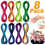 Th-some Corde à Doigts Rainbow Toy - Jeu de Ficelle Doigts 8 pcs Rainbow Rope, Corde à Doigts, Cats Cradle Corde, Jeu d'adresse, Jeu élastique Enfant Doigt, Petit Cadeau
