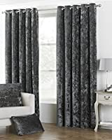 """Deep Pile Crushed Velvet Pewter Grey Lined 90"""" X 90"""" - 229cm X 229cm Ring Top Curtains from Curtains"""