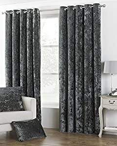 "Deep Pile Crushed Velvet Pewter Grey Lined 66"" X 90"" - 168cm X 229cm Ring Top Curtains from Curtains"