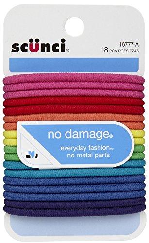 Scunci No Damage Elastic Hair Bands, Multi-Colored