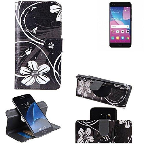 K-S-Trade® Schutzhülle Für Huawei Y6 Pro 2017 Dual SIM Hülle 360° Wallet Case Schutz Hülle ''Flowers'' Smartphone Flip Cover Flipstyle Tasche Handyhülle Schwarz-weiß 1x