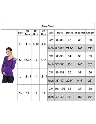 Modetrend Femme Chemise Enceinte Vêtements de Maternité Grossesse Nursing Mama Tunique T-shirt Tops Violet