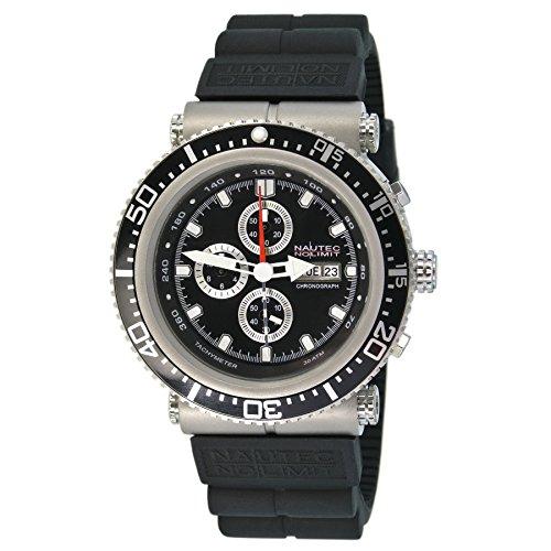 Nautec No Limit - DS-P QZ2/RBSTBKBK - Montre Homme - Quartz Chronographe - Chronomètre - Bracelet Caoutchouc Noir