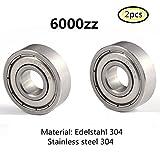 6000Z S6000 6000ZZ lager 304 Edelstahl Rillenlager Miniaturlagern Motoren 10x26x8mm ball bearing for motor 2-Pcs