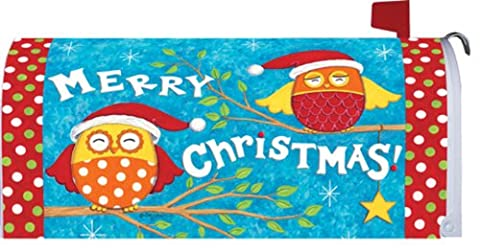 Happy Fun Merry Christmas Santa Owls Magnetic Mailbox Wrap Cover