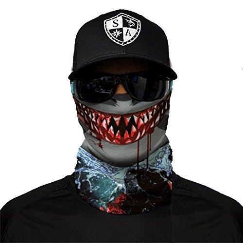 SA Fishing Company Face Shield Sturmhaube viele verschiedene Designs Multiunktionstuch Maske Fishing Totenkopf Schal Skull Bandana Gesichtsmaske Halstuch Ski Motorrad Paintball (Shark Edge)