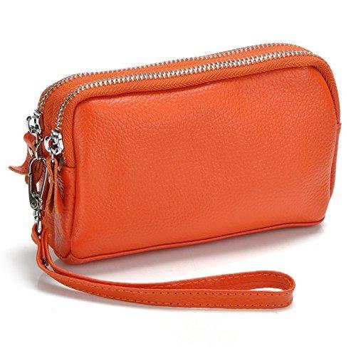 Mefly Leder Geldbörse Damen Null Doppelter Reißverschluss Großes Display Handy Tasche Orange