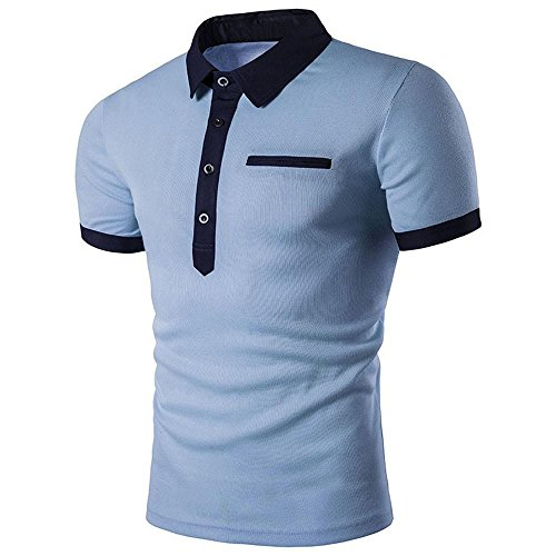 Herren Tops T-Shirt,Dasongff Männer Freizeit Polo Shirt T-Shirts Kurzarm Slim Fit Sport Sweatshirt Tops Oberteile Sommerbluse Polohemden (2XL, Blau) - Kurzarm Polo Pullover