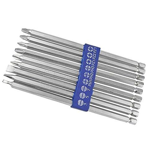 Extra-longs 150 mm 9 d'embouts de tournevis Pozi Philips TE684 forets à plat