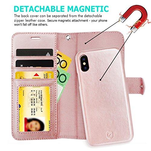 iPhone X Custodia ZUSLAB [Tasca con Cerniera] 2 in 1 Magnetica Removibile Cover sottile combinata con Portafoglio in Pelle, Custodia protettiva staccabile, Antiurto, Tasca Estraibile, Flip Folio case  Oro rosa