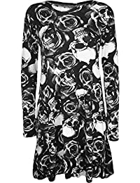 Ladies Plus Small & Plus Size Skull Roses Print Swing Dress Top Size ...