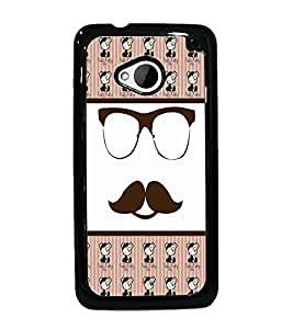 PrintDhaba Mustache D-4780 Back Case Cover for HTC ONE M7 (Multi-Coloured)