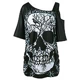 SEWORLD Damen Sommer Mode Damen Kurzarm Schräghals Schräglage Kragen Schädel T-Shirt Schulter Schädel T-Shirt Tops Bluse(Schwarz,EU-44/CN-XL)