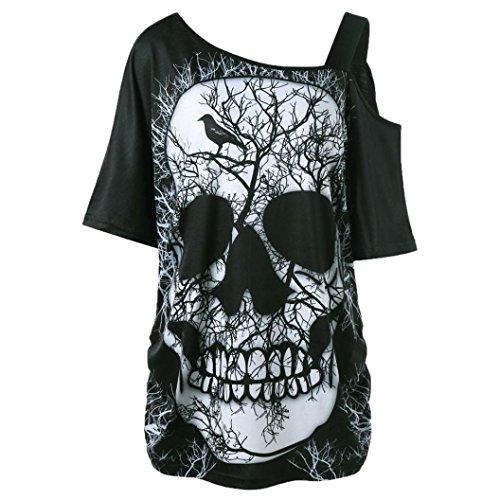 SEWORLD Damen Sommer Mode Damen Kurzarm Schräghals Schräglage Kragen Schädel T-Shirt Schulter Schädel T-Shirt Tops Bluse(Schwarz,EU-42/CN-L)