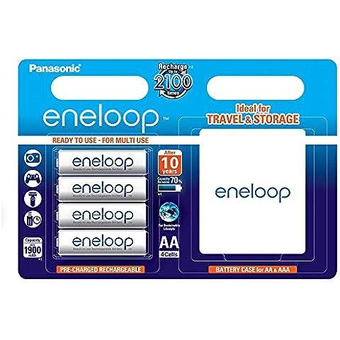 Panasonic Eneloop SY3052654 - Pack 4 pilas recargables (AA , con estuche)