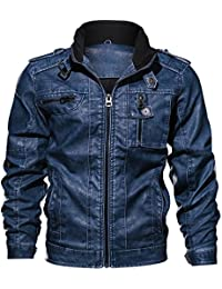 fddd86d8c908 QQ2MM Homme Printemps Automne Classique Bombardier Moto PU Cuir Blousons  Rétro Slim Fit Stand Collar Veste Manteaux Men s Biker Jacket…