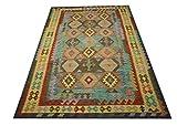 Tela-Teppich Teppich Nomaden Kelim Afghan Kilim Old Style 200x300 cm 100% Wolle Handgewebt