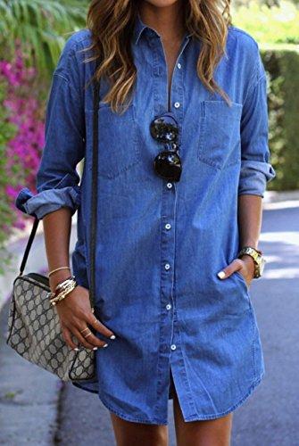 Blansdi Damen Sommer Denim Minikleid lange Ärmel Revers Knopf T-Shirt-Kleid Jeans Hemdkleid Casual Partykleid Bluse Kleider Blau