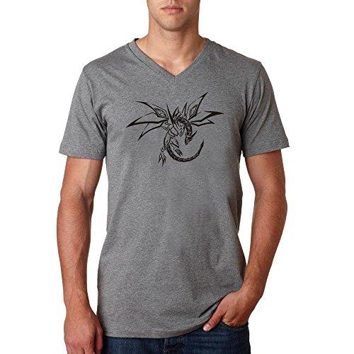 Stencil dragon tribal retro ethnic logo dope Herren baumvolle V-neck t-shirt Grau