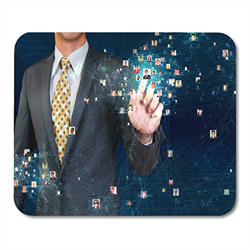 Deglogse Gaming-Mauspad-Matte, Contact Database Businessman Touching Social Network Visualization Search Integrated Mouse Pad, Desktop Computers mats