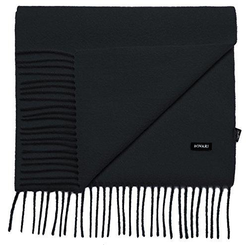 Bovari Echarpe femme 100% cachemire haut de gamme femme - 180 x 31 cm - nombreuses couleurs (Noir)