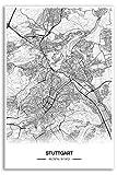Zulumaps Poster 30x45cm Stadtplan Stuttgart - Hochwertiger