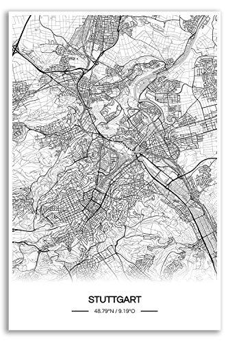 Zulumaps Poster 20x30cm Stadtplan Stuttgart - Hochwertiger Kunstdruck