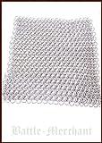 Battle Merchant - Trozo de tela para cota de malla (20 x 20 cm, sin remachar, diámetro interior 8 mm, galvanizado)