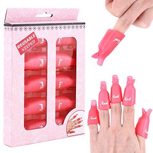 Sasairy Une Boîte de 10 Pcs Capuchons Pince à Ongles Outil pour Enlever les Vernis à Ongles avec Séparatoire d'Orteil Nail Art/Manucure Accessoire