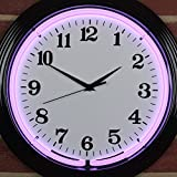 Icon Neon schwarz Rand Wanduhr, real (LED), Büro, Küche, Violett, 38x 38x 8cm