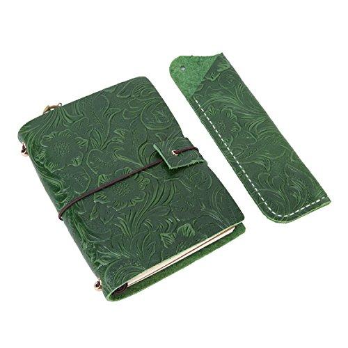 Ubaymax Leder Tagebuch nachfüllbar Echtleder handgefertigt Reise, Vintage Tagebuch, Notizbuch und Planer mit Stift Fall Halter (Green - S) (Fall Mit Planer)