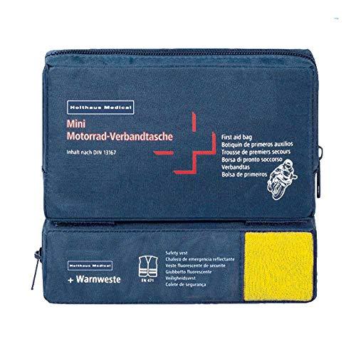 Holthaus Medical mini COMBI Motorrad Verbandtasche Erste-Hilfe-Tasche, 17x10x3,5cm, DIN 13 167 u. Warnweste