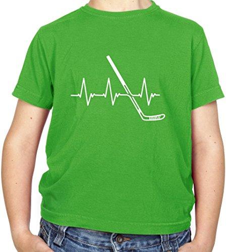 Heartbeat Eishockey - Kinder Fun T-Shirt - Irisch Grün - M (7-8 Jahre)