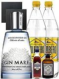 Gin-Set Gin Mare aus Spanien 0,7 Liter + Haymans Sloe Gin 5cl + Monkey 47 Schwarzwald Dry Gin 5 cl MINIATUR + 2 x Goldberg Tonic Water 1,0 Liter + 2 Schieferuntersetzer quadratisch 9,5 cm
