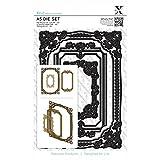 Xcut - Set di fustelle, formato A5, forma quadrangolare con cornice decorata, 3 pezzi, colore: nero