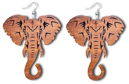 Pashal Majestic groß NATÜRLICHES Holz Ausschnitt Elefant Ohrhänger Ohrringe von - Hellbraun